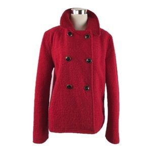 Coach Red Double Breasted Short Peacoat Sz L
